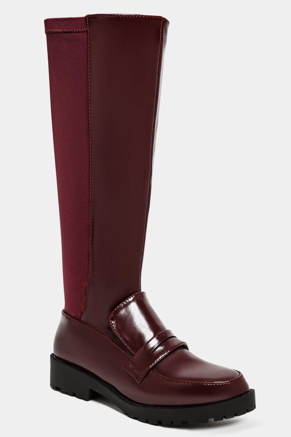 Burgundy Knee High Loafer Style Two Textures Boots - SinglePrice