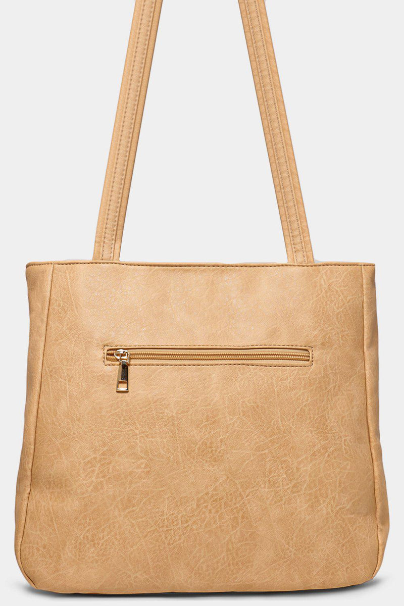 Apricot Messenger Design Vegan Leather Tote Bag - SinglePrice