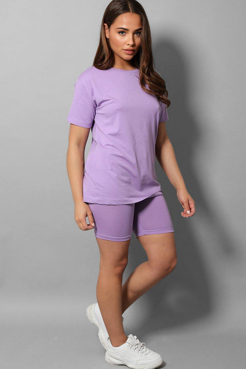 Lilac Basic T-Shirt And Cycling Shorts 2 Piece Set - SinglePrice