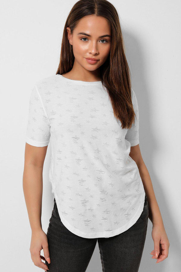 White Distressed Basic Top