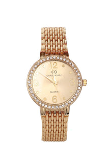 Gold Strap Crystals Embellished Gold Round Dial Watch