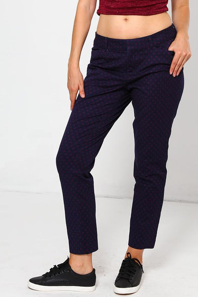Red Pattern Navy Cigarette Trousers-SinglePrice