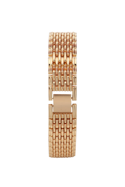 Gold Strap Crystals Embellished Gold Round Dial Watch-SinglePrice