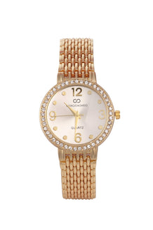 Gold Strap Crystals Embellished Silver Round Dial Watch