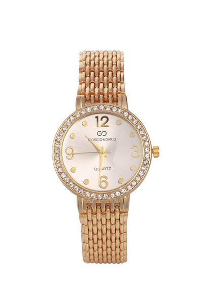 Gold Strap Crystals Embellished Silver Round Dial Watch-SinglePrice