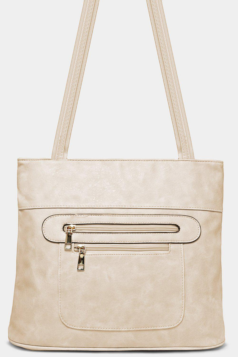 White Multi-Zip Front Vegan Leather Tote Bags - SinglePrice