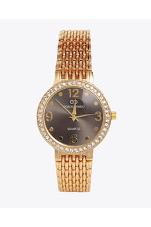 Gold Strap Crystals Embellished Black Round Dial Watch