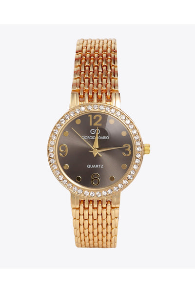 Gold Strap Crystals Embellished Black Round Dial Watch-SinglePrice