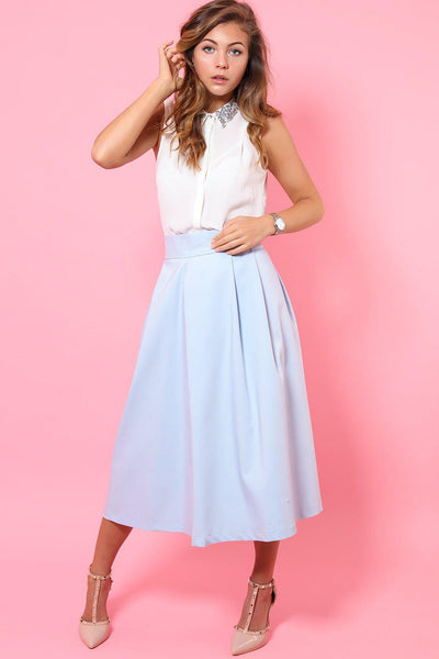 Light Blue Tall Midi Skirt-SinglePrice