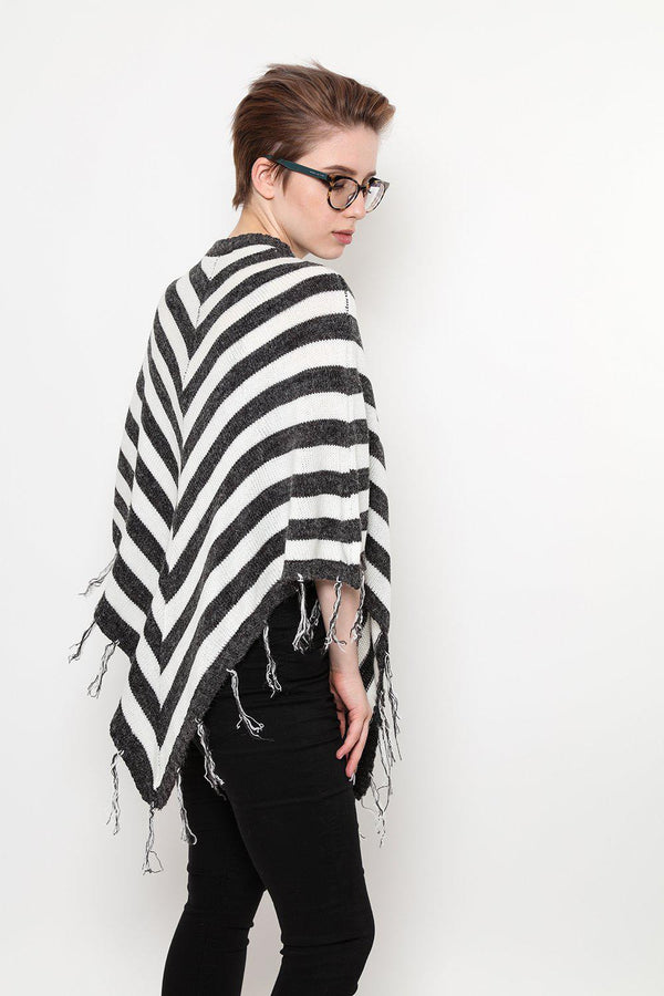 Ash Grey And White Stripe Fringed Poncho - SinglePrice