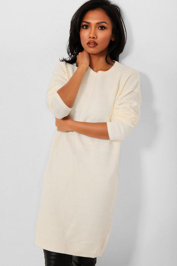Cream Rib Knit Midi Dress - SinglePrice