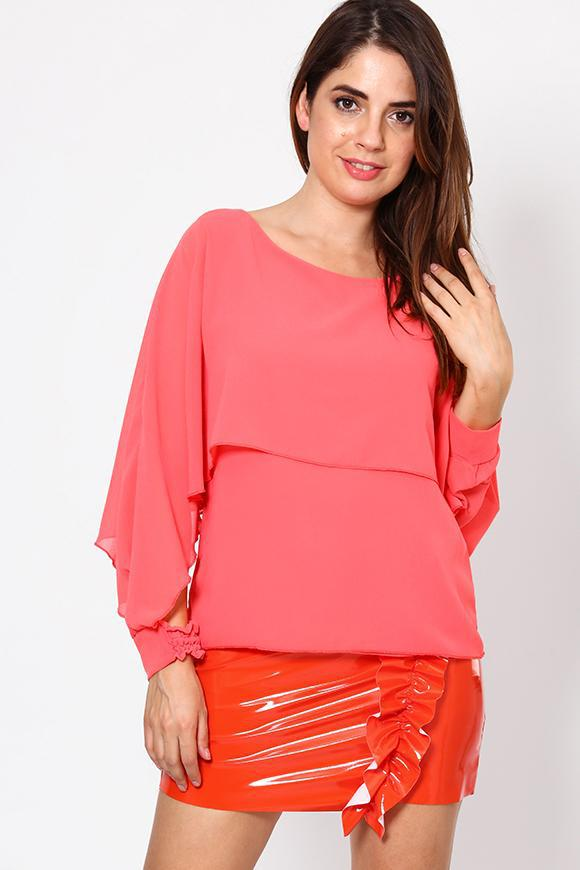 Chiffon Blouse with Open Sleeves - SinglePrice