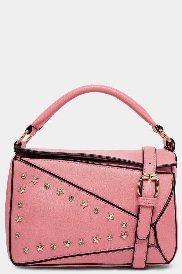 Pink Patched Stars And Crystals Embellished Handbag - SinglePrice