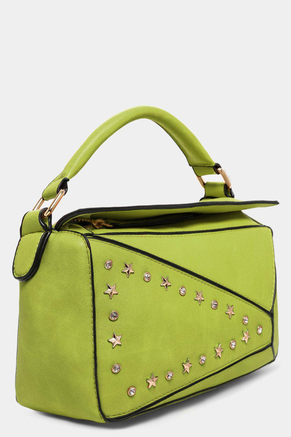 Lemon Patched Stars And Crystals Embellished Handbag - SinglePrice