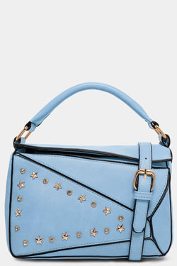 Blue Patched Stars And Crystals Embellished Handbag - SinglePrice