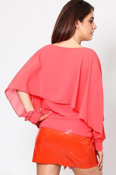 Chiffon Blouse with Open Sleeves-SinglePrice