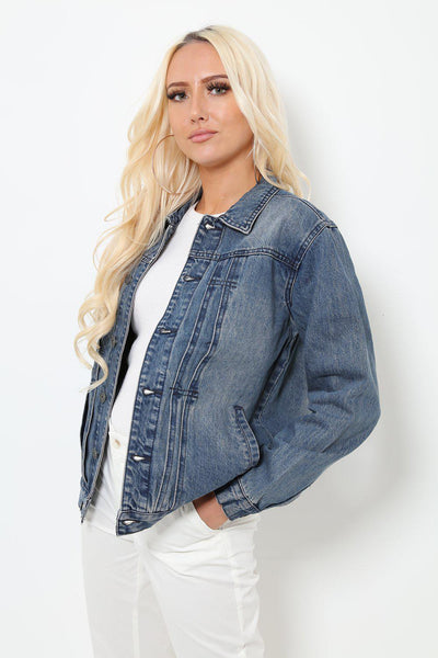 Washed Blue Denim Jacket With Pinned Pleats-SinglePrice