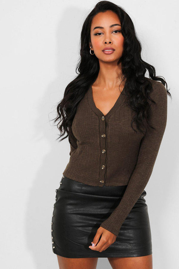 Khaki Ribbed Knit Button Front Crop Cardigan