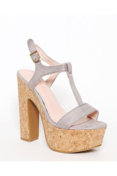 Cork Platform Grey T-Bar Sandals-SinglePrice