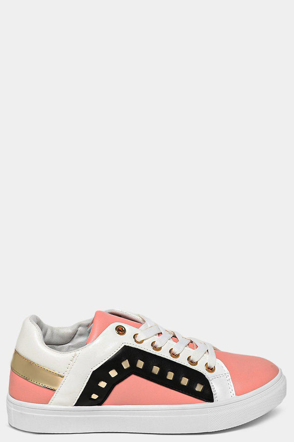 Pink Cut Out Side Detail Colourblock Trainers