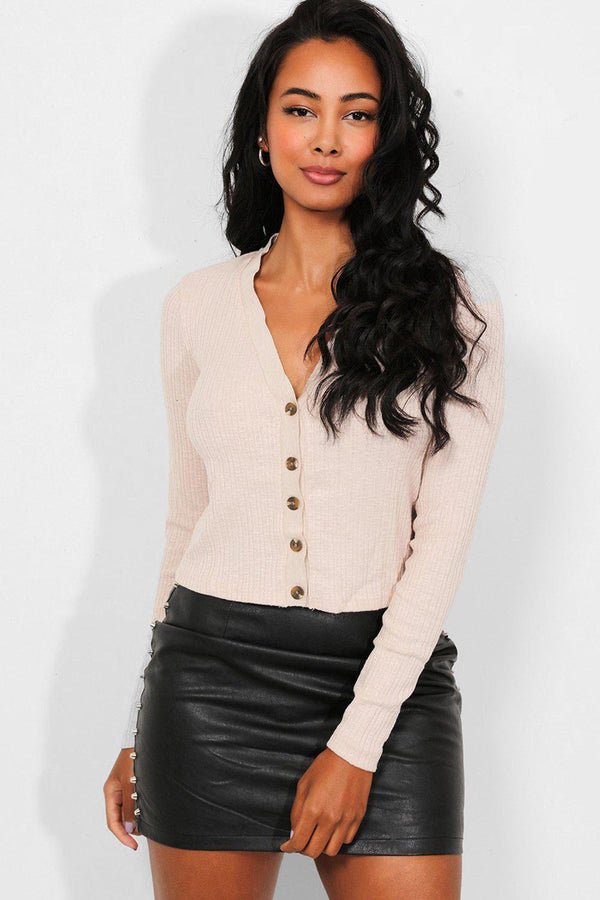 Beige Ribbed Knit Button Front Crop Cardigan