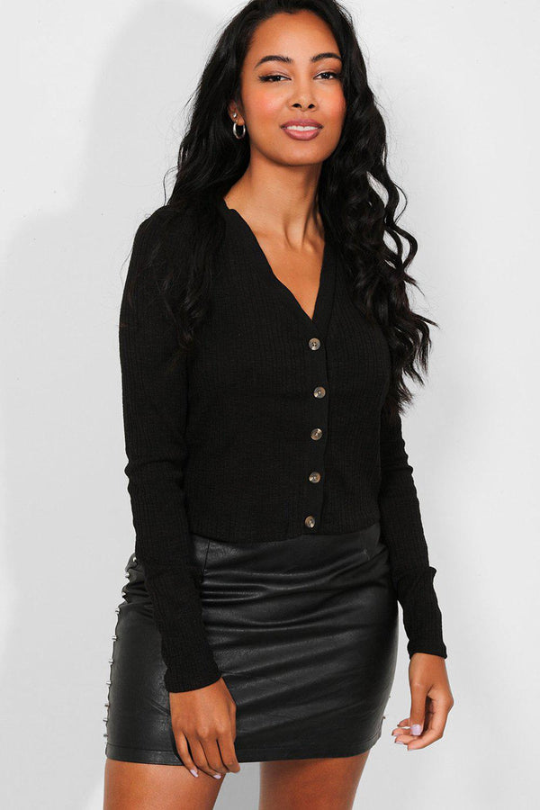 Black Ribbed Knit Button Front Crop Cardigan