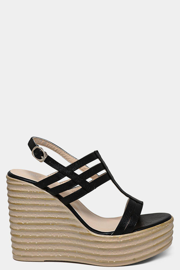Black Vegan Leather Caged Extreme Wedge Sandals