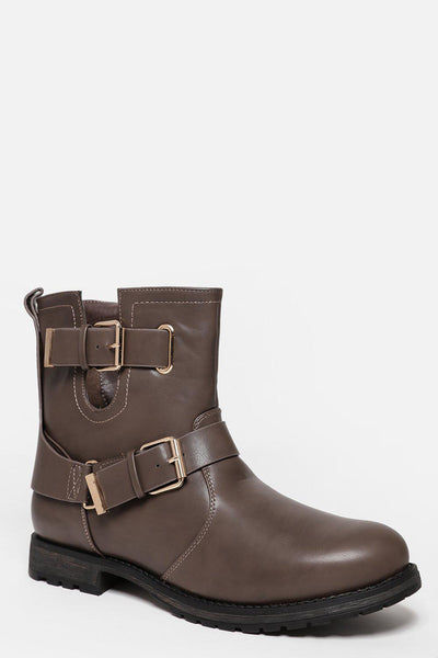 Double Buckle Cut Out Khaki Boots-SinglePrice