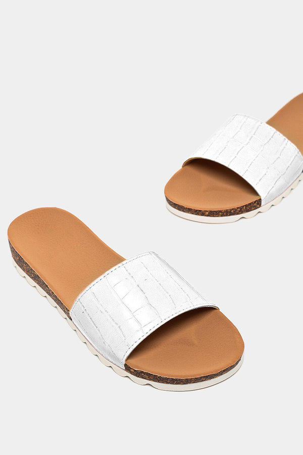 White Patent Mock Croc Strap Cleated Sole Sliders