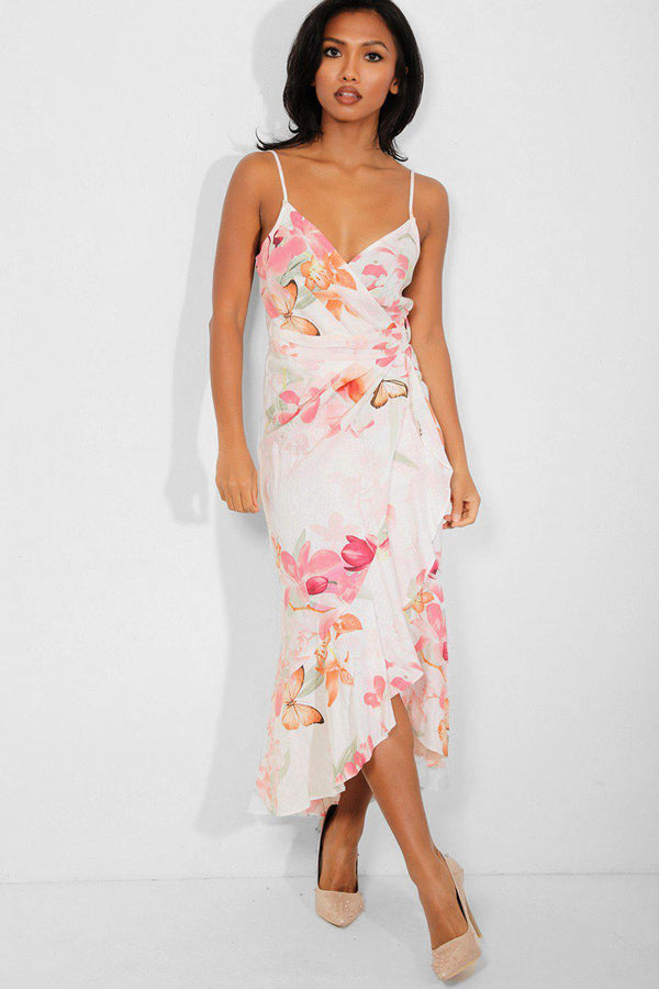 White Linen Blend Floral And Butterflies Print Wrap Maxi Dress - SinglePrice