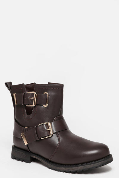Double Buckle Cut Out Brown Boots-SinglePrice