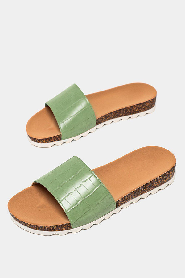 Green Patent Mock Croc Strap Cleated Sole Sliders