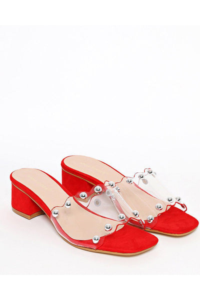 Red Perspex Heeled Slides-SinglePrice