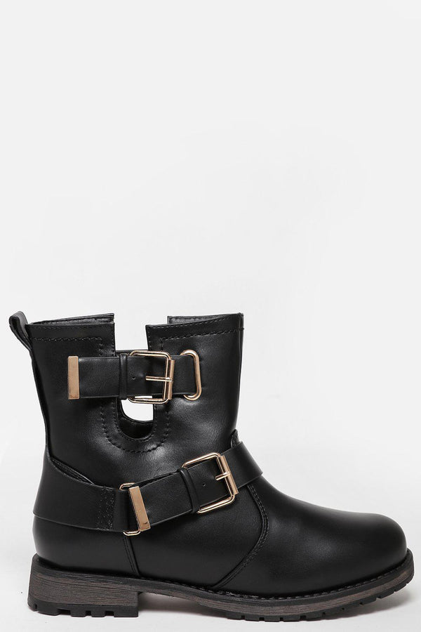 Double Buckle Cut Out Black Boots-SinglePrice