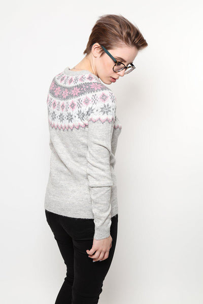 Pink Fairisle Pattern Grey Knitted Jumper-SinglePrice