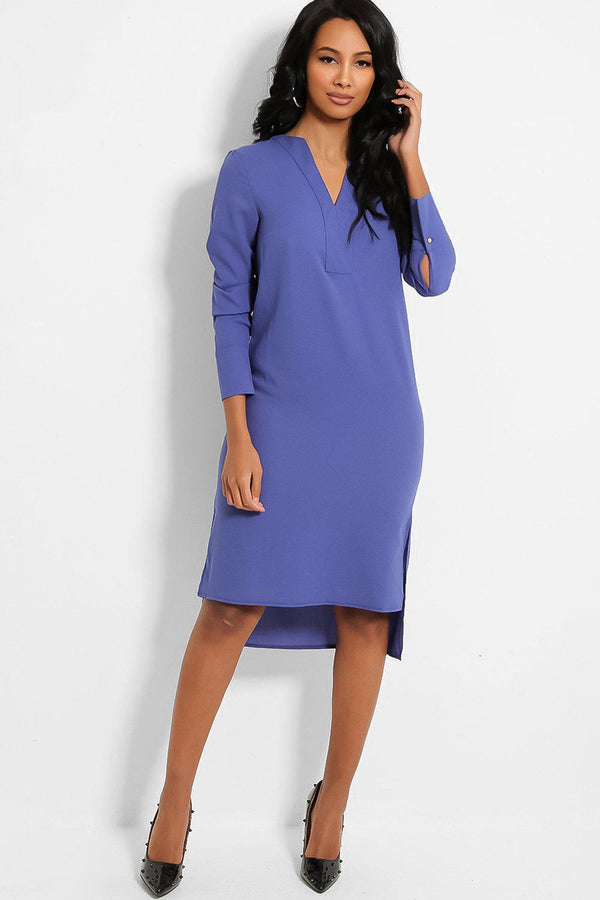 Blue V-Neck Side Splits Dip Hem Midi Dress - SinglePrice