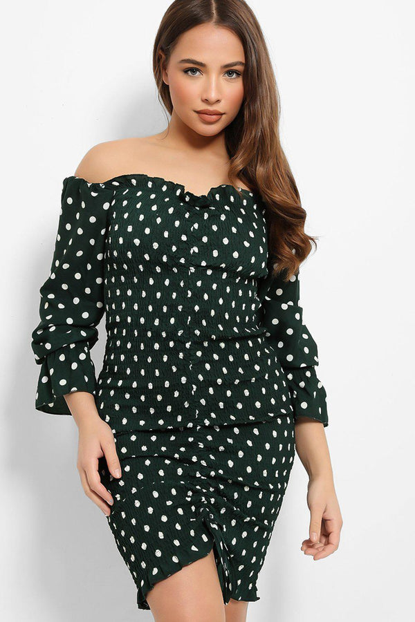 Green Polka Dot Shirred Drawstring Dress - SinglePrice