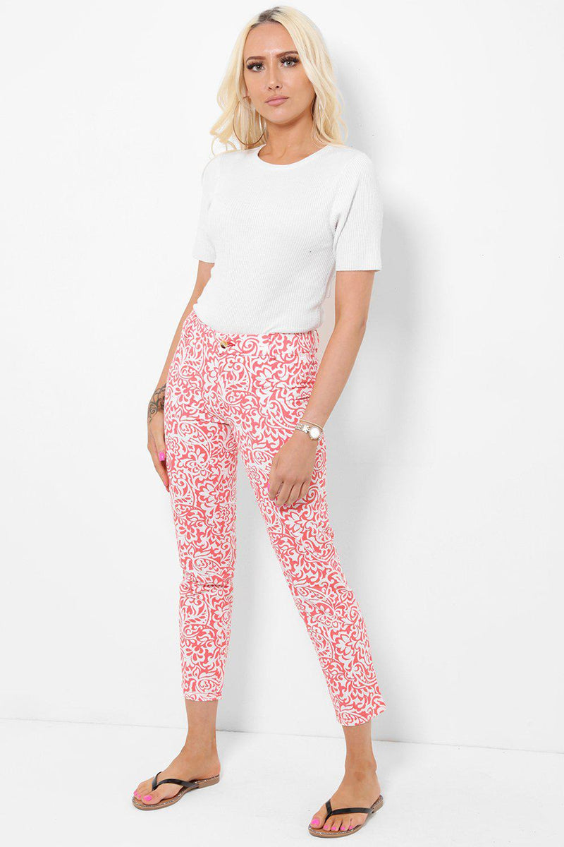 Rose Floral Print Cropeed Jeans - SinglePrice