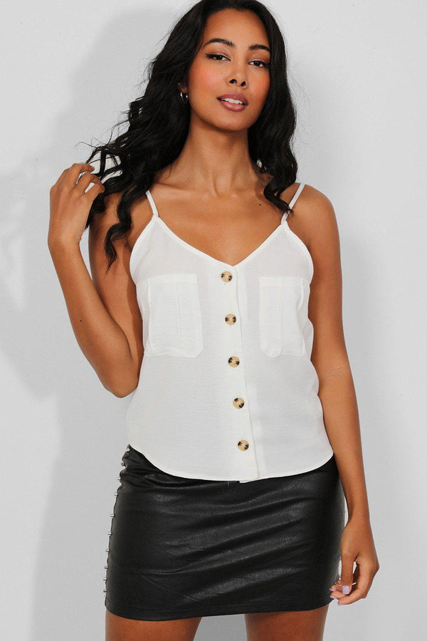 White Chest Pockets Buttoned Cami Top - SinglePrice