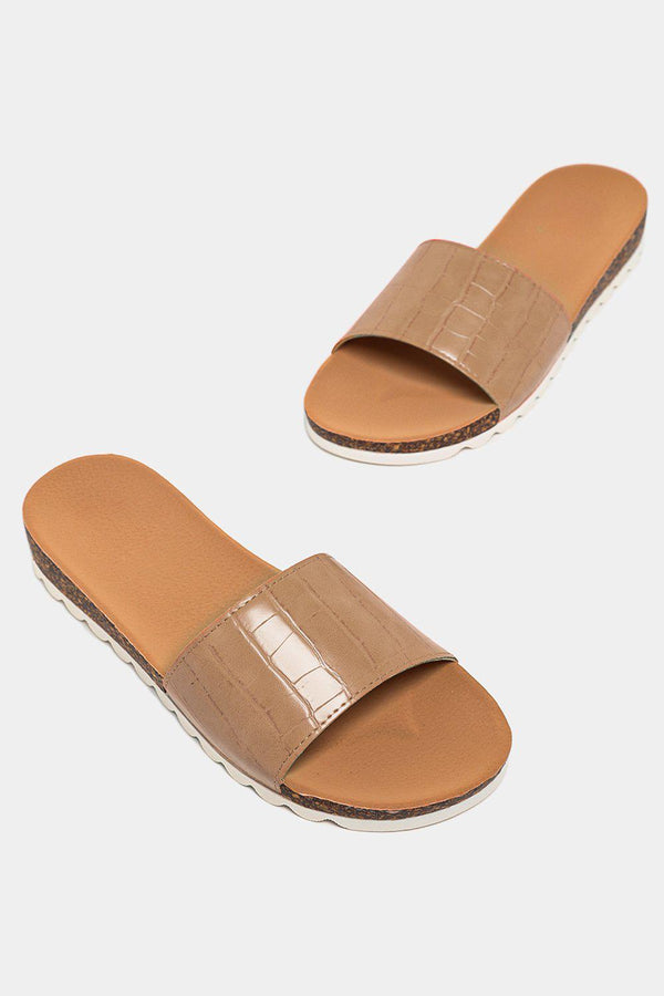 Beige Patent Mock Croc Strap Cleated Sole Sliders