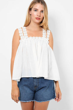 White Lace Trim Cold Shoulder Top - SinglePrice
