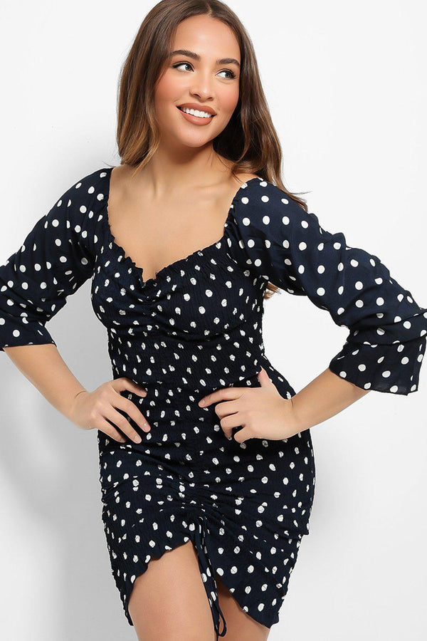 Navy Polka Dot Shirred Drawstring Dress - SinglePrice
