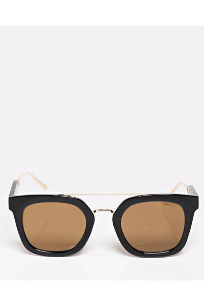 Black Square Frame Mirror Lens Sunglasses-SinglePrice