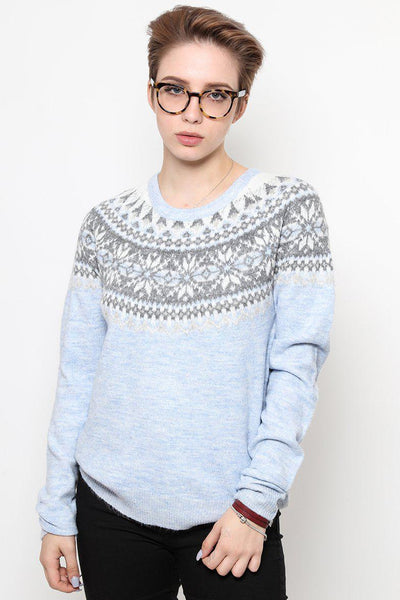 Blue Fairisle Pattern Grey Knitted Jumper-SinglePrice