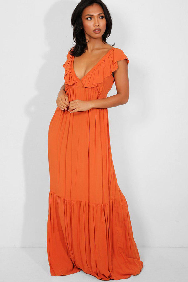 Rust Deep Plunge Tiered Maxi Dress - SinglePrice