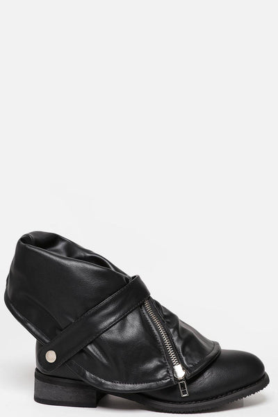 Fold Over Zipped Cuff Black Boots-SinglePrice
