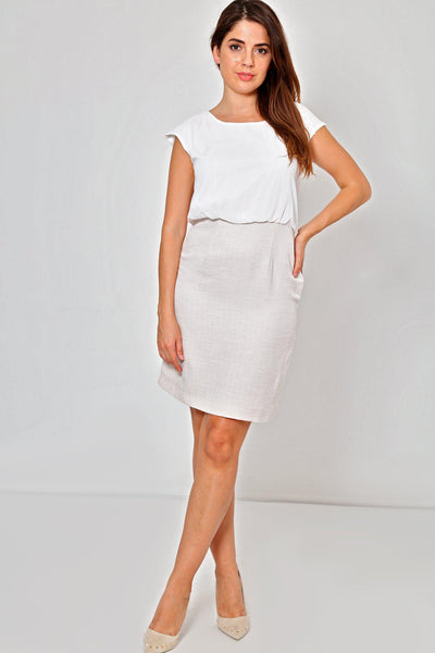 Linen Skirt White Chiffon Top Dress-SinglePrice