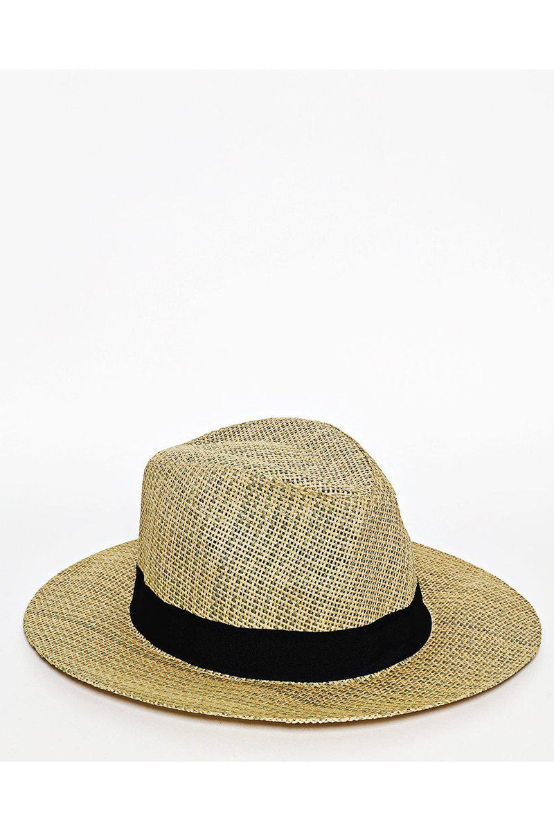 Black Trim Large Straw Hat - SinglePrice