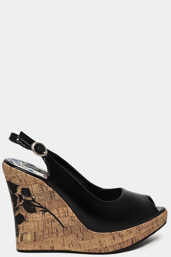 Patent Black Rose Printed Cord Wedge Sandals-SinglePrice