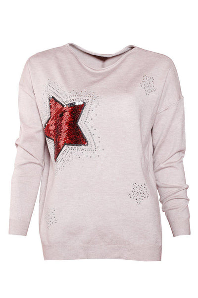 Grey Sequinned Star Soft Pullover-SinglePrice